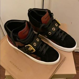 Burberry Hightop Sneaker Leather Mix Print NWT